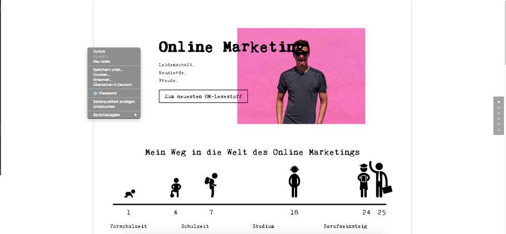 Website mit Rechtsklick öffnen